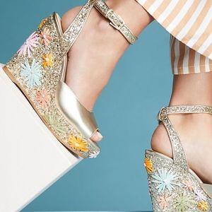 BOTKIER Jessie Metallic Floral Wedge Sandal